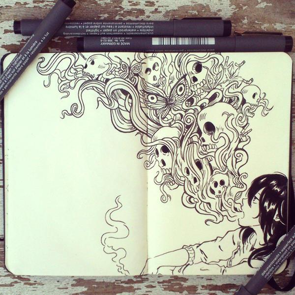 Art Doodle Designs Inside A Portrait