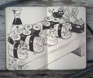 #102 Sushi Cats by Picolo-kun