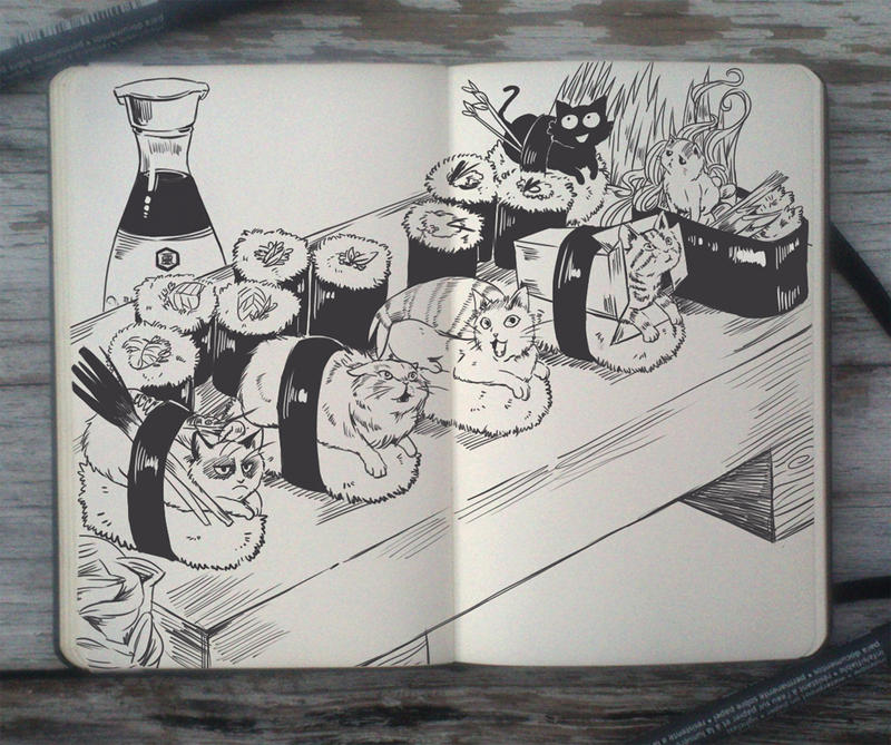 #102 Sushi Cats by Picolo-kun