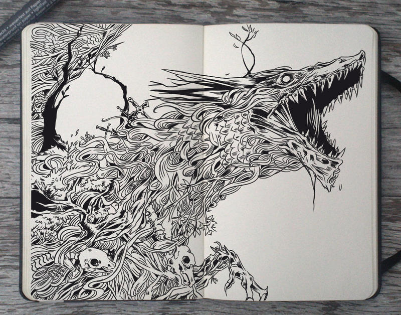 #114 Elder Dragon by 365-DaysOfDoodles