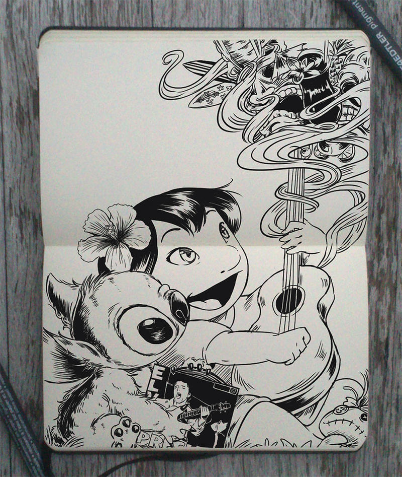 #150 Lilo and Stitch by 365-DaysOfDoodles