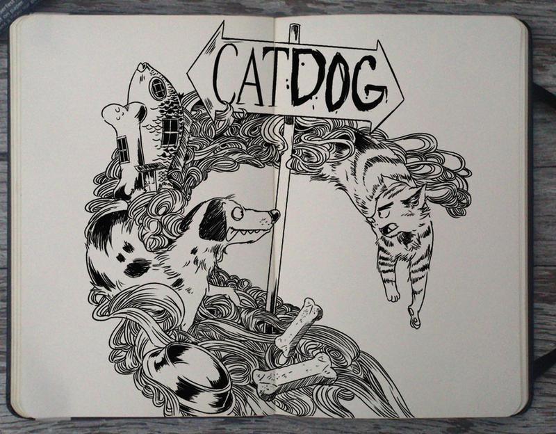 #190 Catdog by 365-DaysOfDoodles