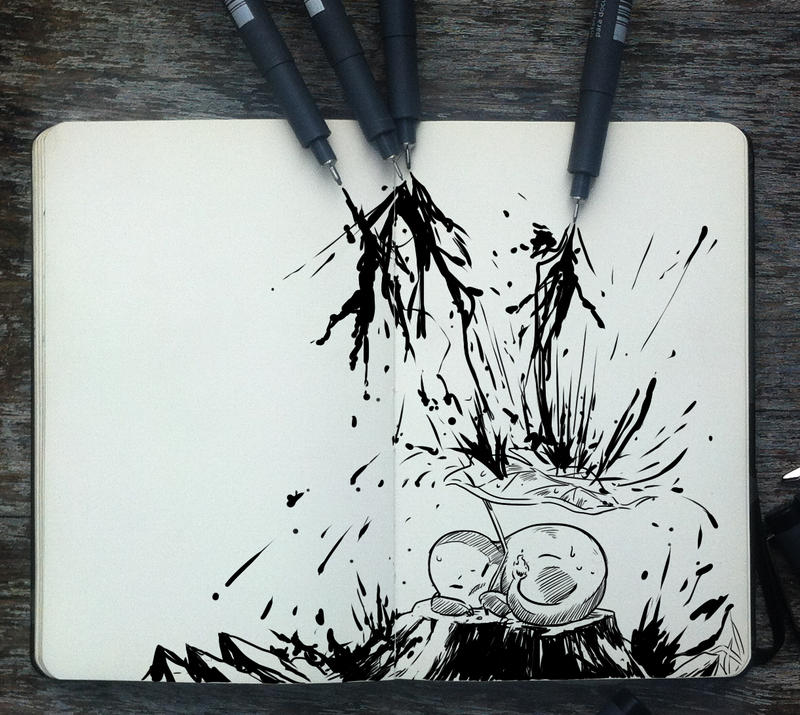 #265 It's raining ink! by 365-DaysOfDoodles