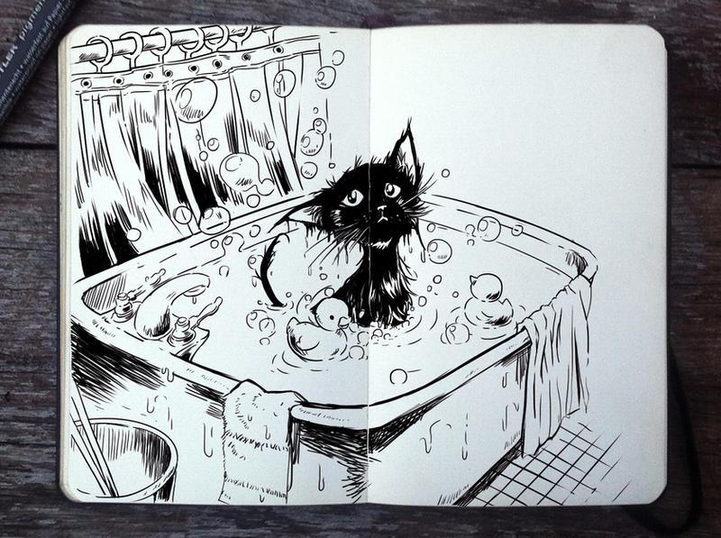 #298 Bath Day by 365-DaysOfDoodles