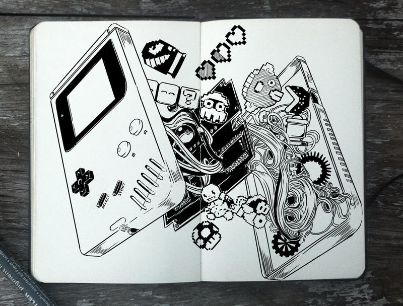 #311 Inside of a Game Boy by 365-DaysOfDoodles