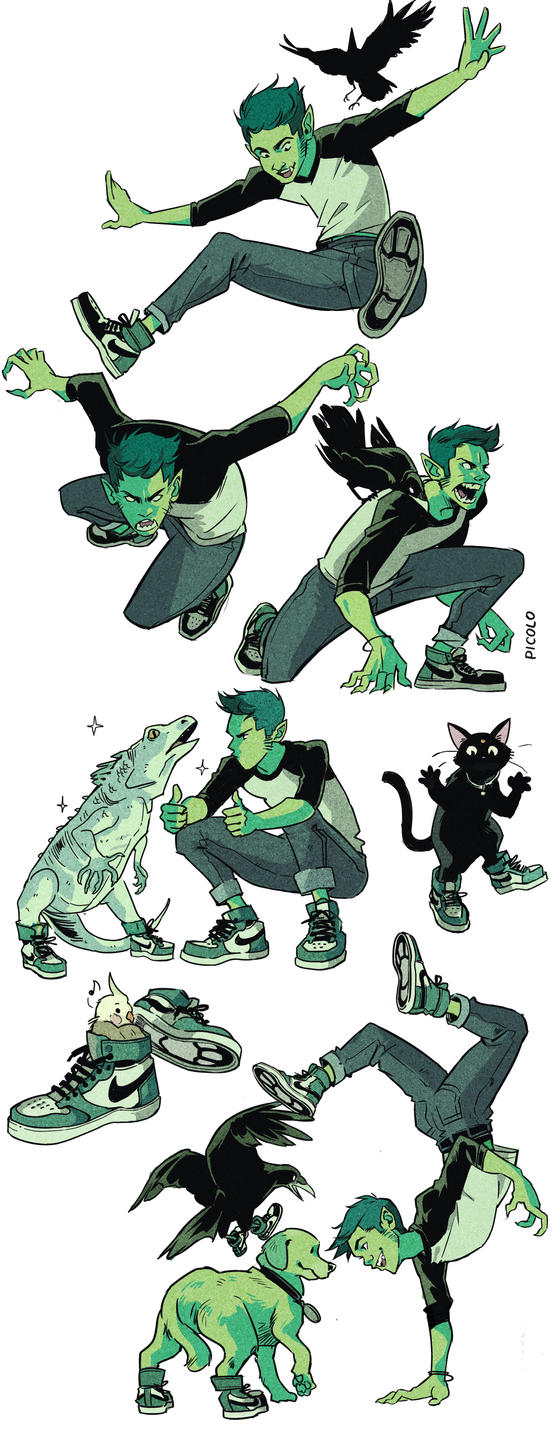 Beast Boy sneakers by Picolo-kun