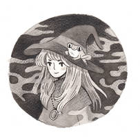A witch and a frog by heikala