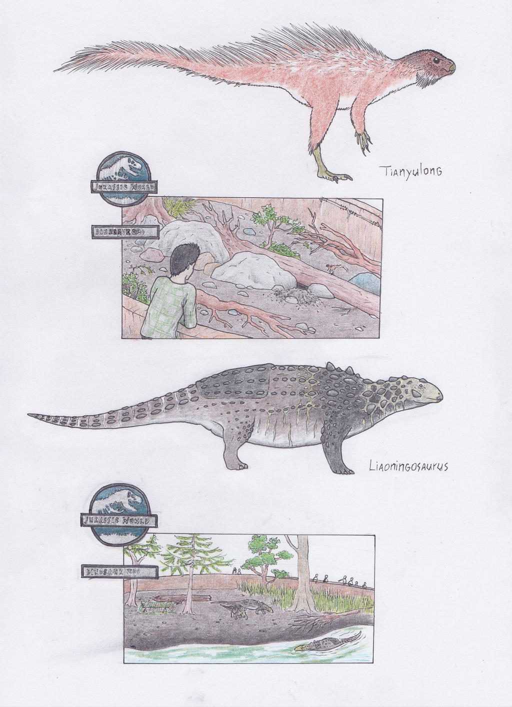 Dinosaur Zoo: Porcupines and mini tanks by Dontknowwhattodraw94
