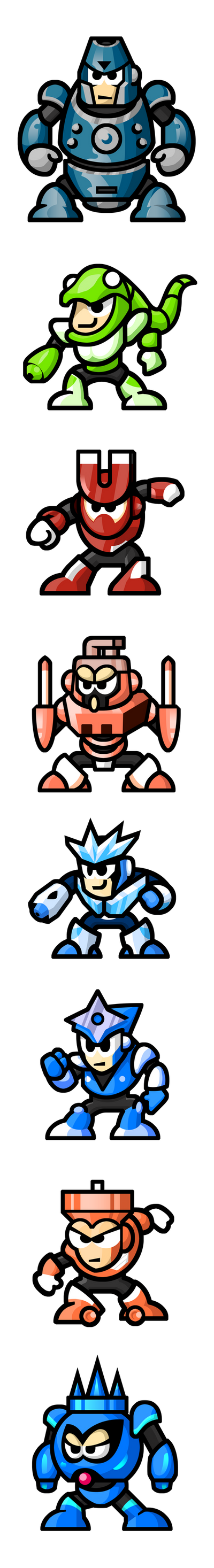 "MegaMan ""Sprites""-Bosses of 3 by WaneBlade"