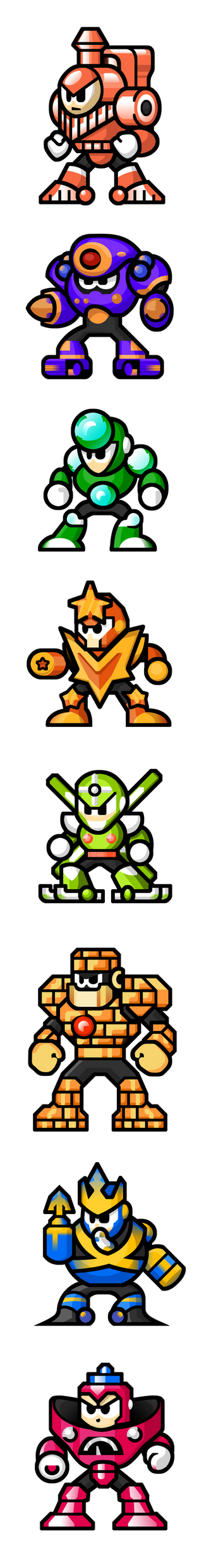 MegaMan 'Sprites'-Bosses of 5 by WaneBlade