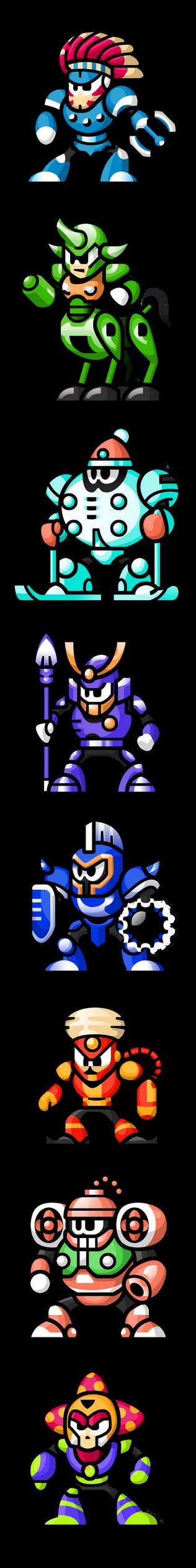 "MegaMan ""Sprites""-Bosses of 6 by WaneBlade"