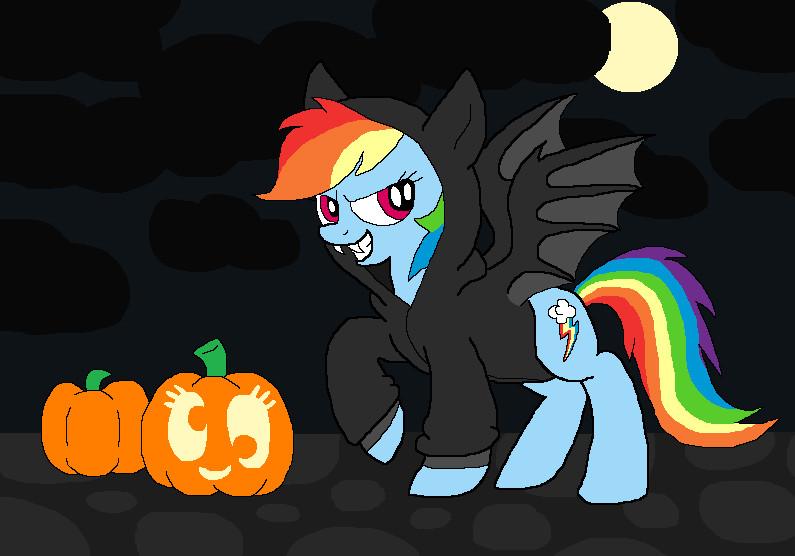 halloween rainbow dash bat by bluelioness123