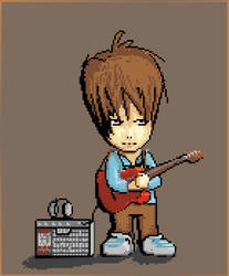 Me,guitar and my love to pixelart by SykeOne