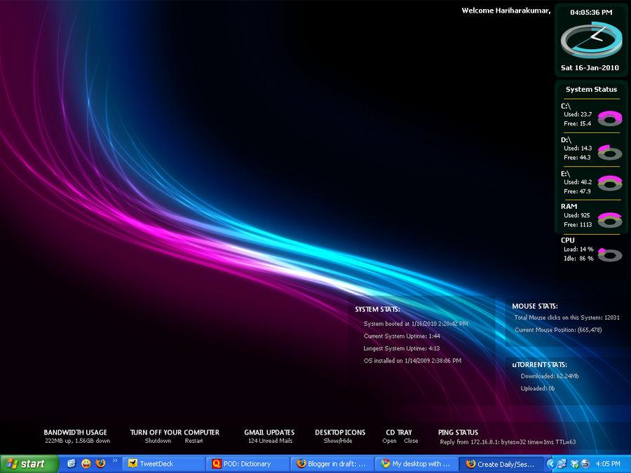 My desktop with Samurize new