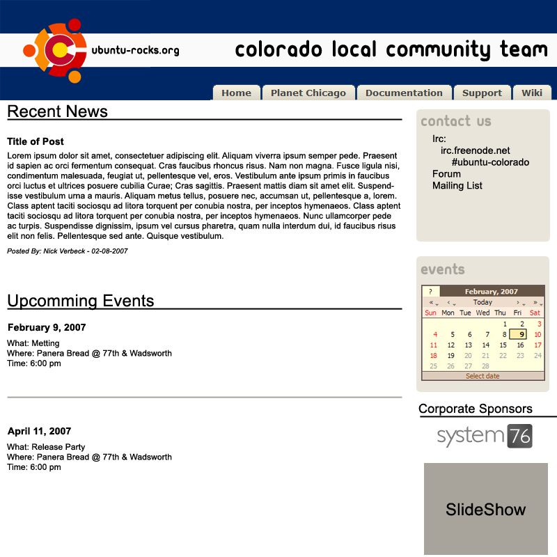 Colorado LoCo Website Layout by Jazee