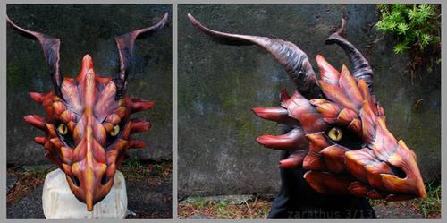 Autumn Dragon - leather mask