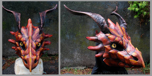 Autumn Dragon - leather mask by zarathus