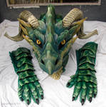 Green leather mask by zarathus