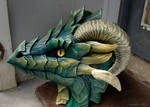 Green leather mask - side view