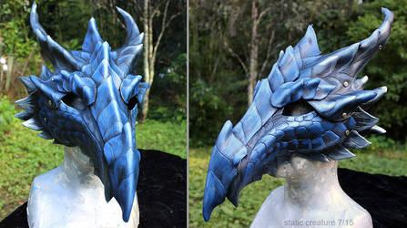 Blue leather dragon mask