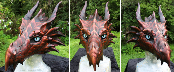 Red leather dragon mask - for sale