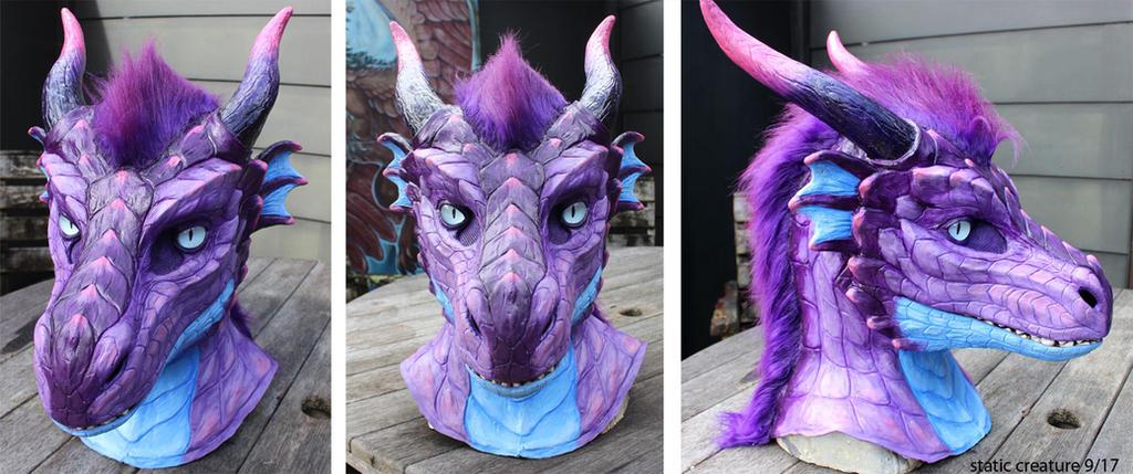 Lavender dragon mask by zarathus
