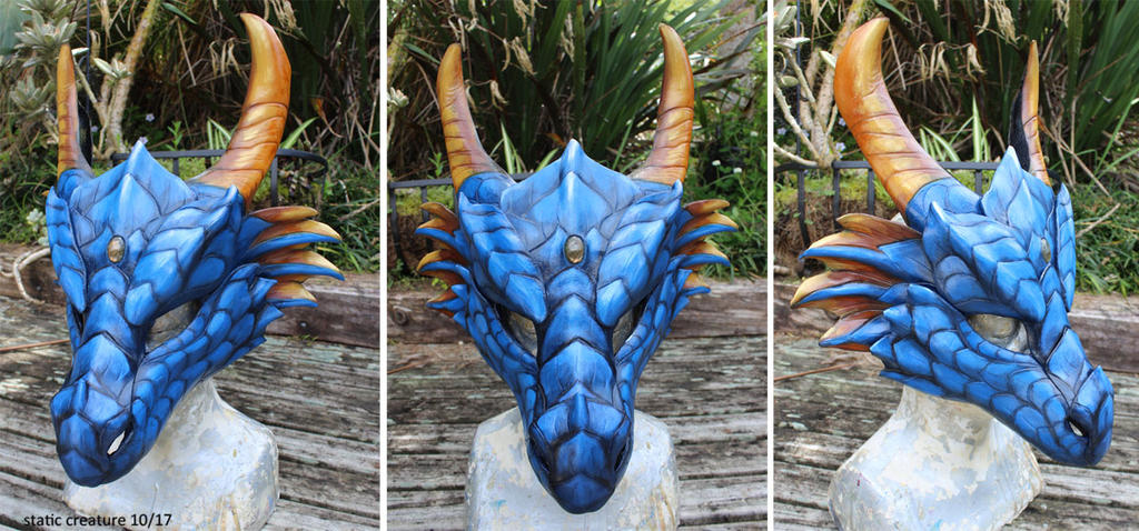 Leather dragon mask - for sale by zarathus
