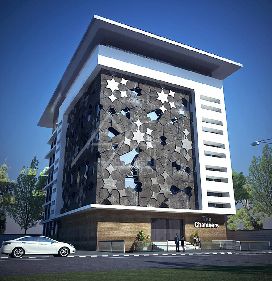 3d office exterior rendering design service by axiscorner - Small office building exterior design ideas ...