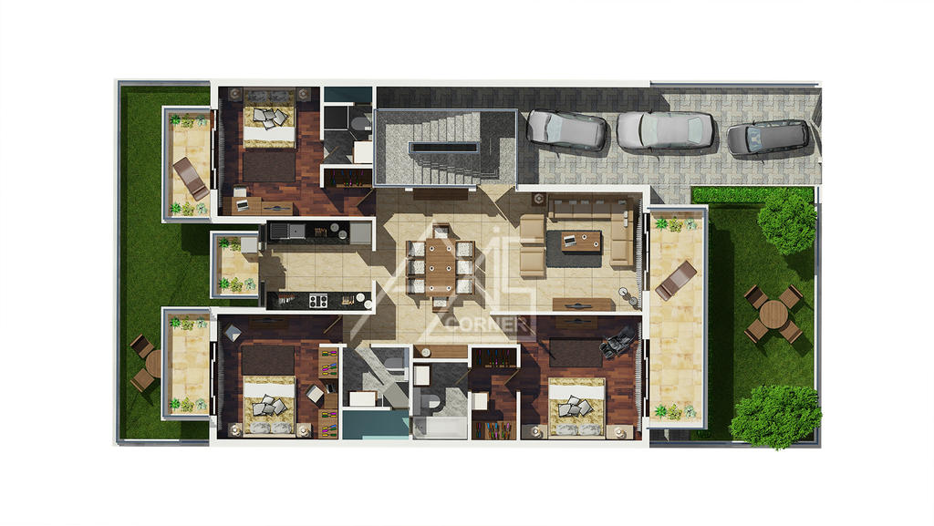 3d architecture floor plan rendering service by axiscorner for 3d floor plans architectural floor plans