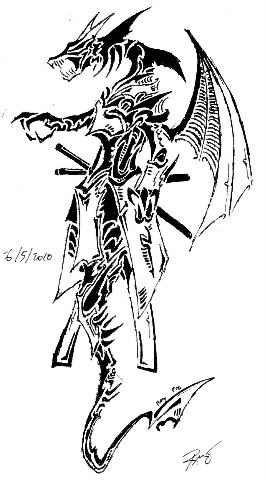 tribal dragon 11 by RoyCorleone