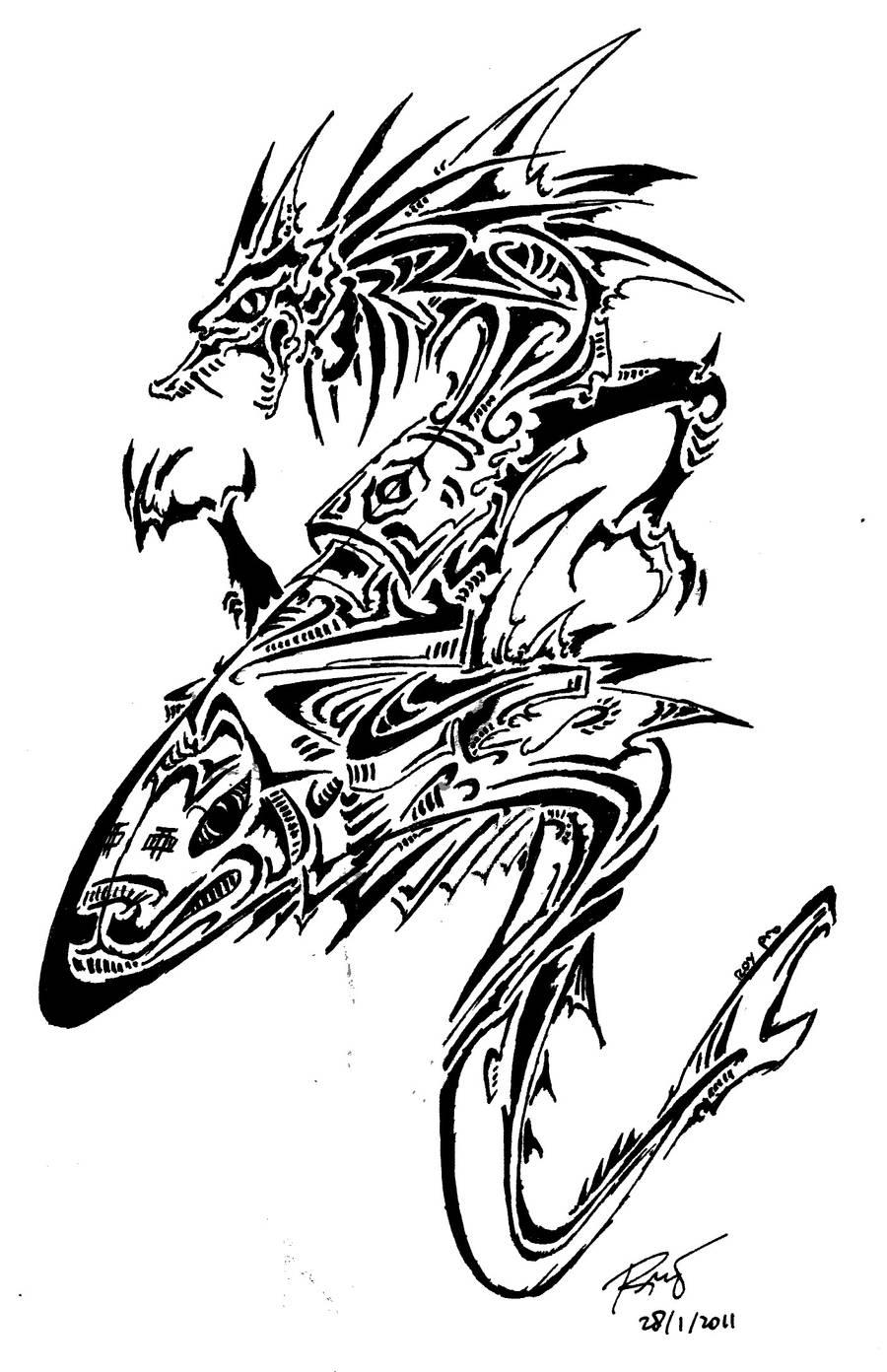 Tribal Dragon 13 by RoyCorleone