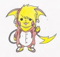 Pikachu Wearing A Raichu Onesie by melia161