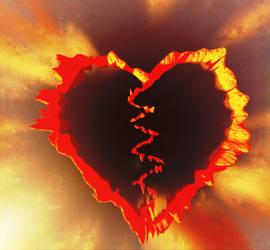Broken Flaming Heart by AneiKhaar