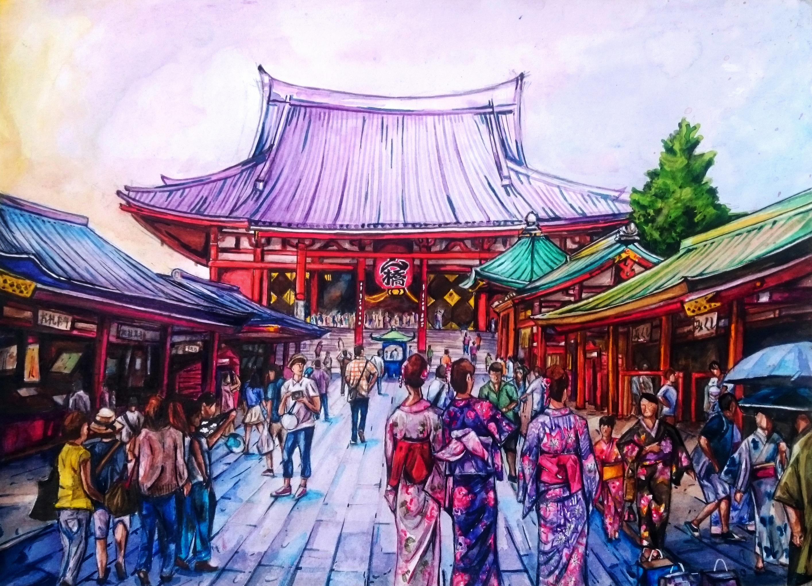 Three Maidens - Sensoji Temple by BreakfastTears