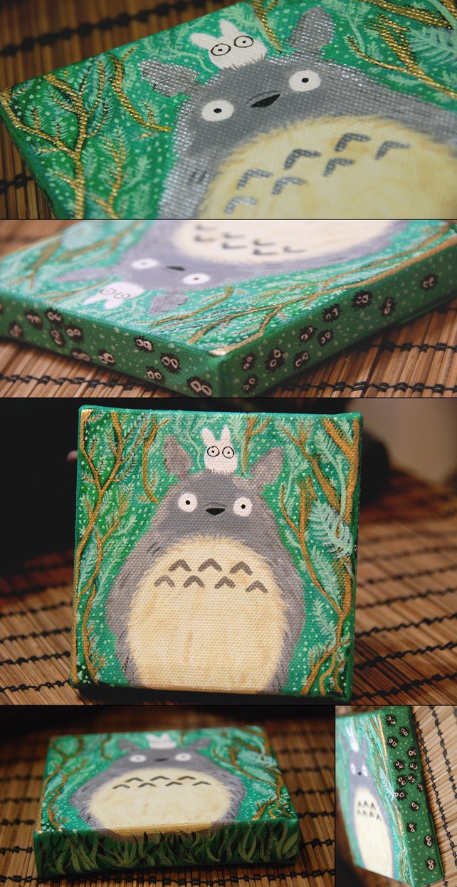 Totoro on a Canvas by Hunkabaloof