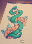 Snake and dagger tattoo design by ArtOtto