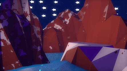 Mountain Lake - Low Poly by Lithium-Polygon