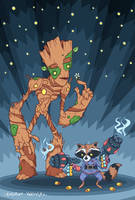 Rocket Raccoon and Groot by lost-angel-less