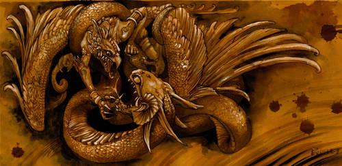 Garuda vs Kadru by hikigane
