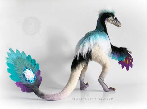 Turquoise Paradise Raptor posable art doll