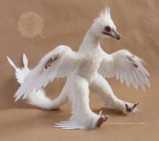 Albino MicroRaptor OOAK posable art doll