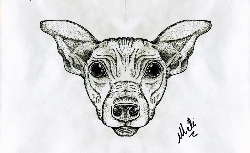 Winston - Hairless dog tattoo design by MySweetDarkness
