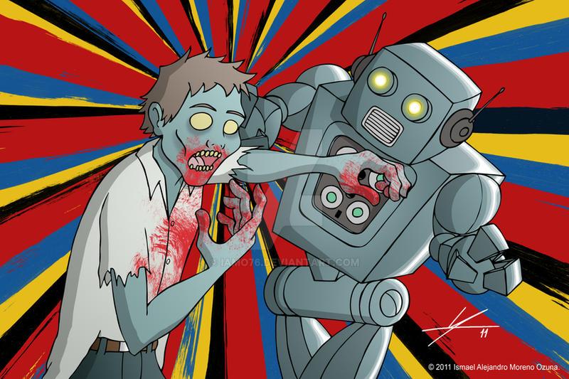 Robot Vs. Zombie by IAMO76