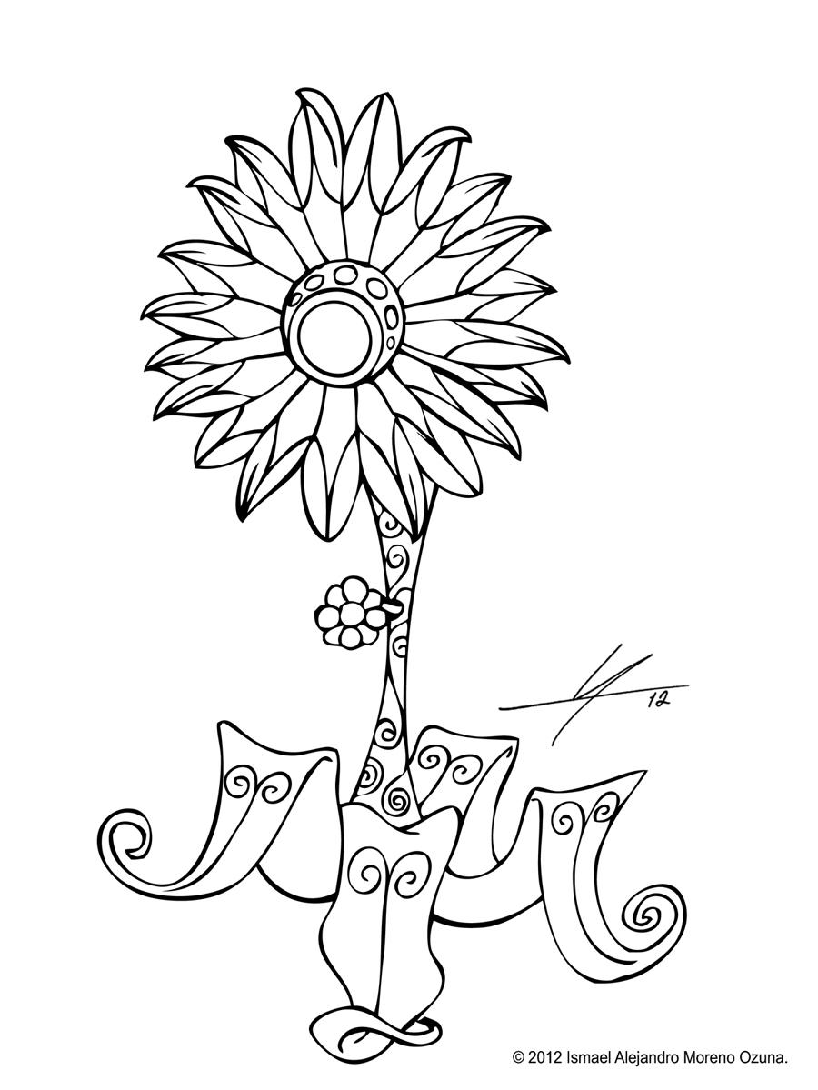 Art Nouveau Flower Fan Sketch by IAMO76