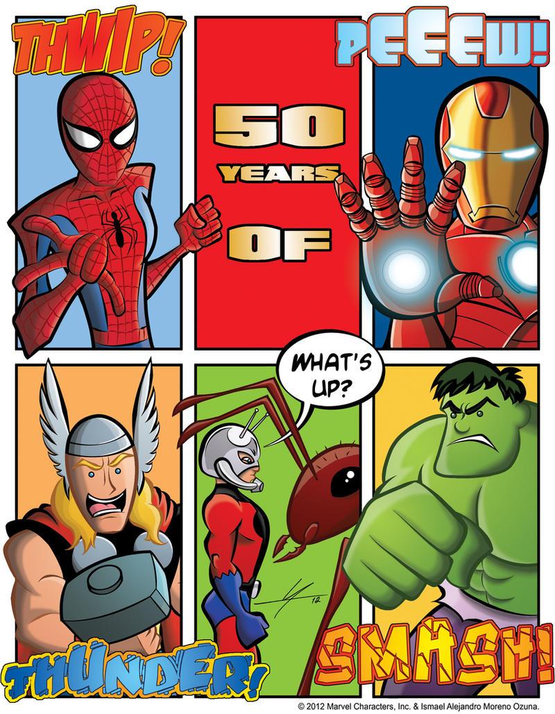 50 Years of Spider-Man Hulk Thor Ant-Man Iron Man by IAMO76