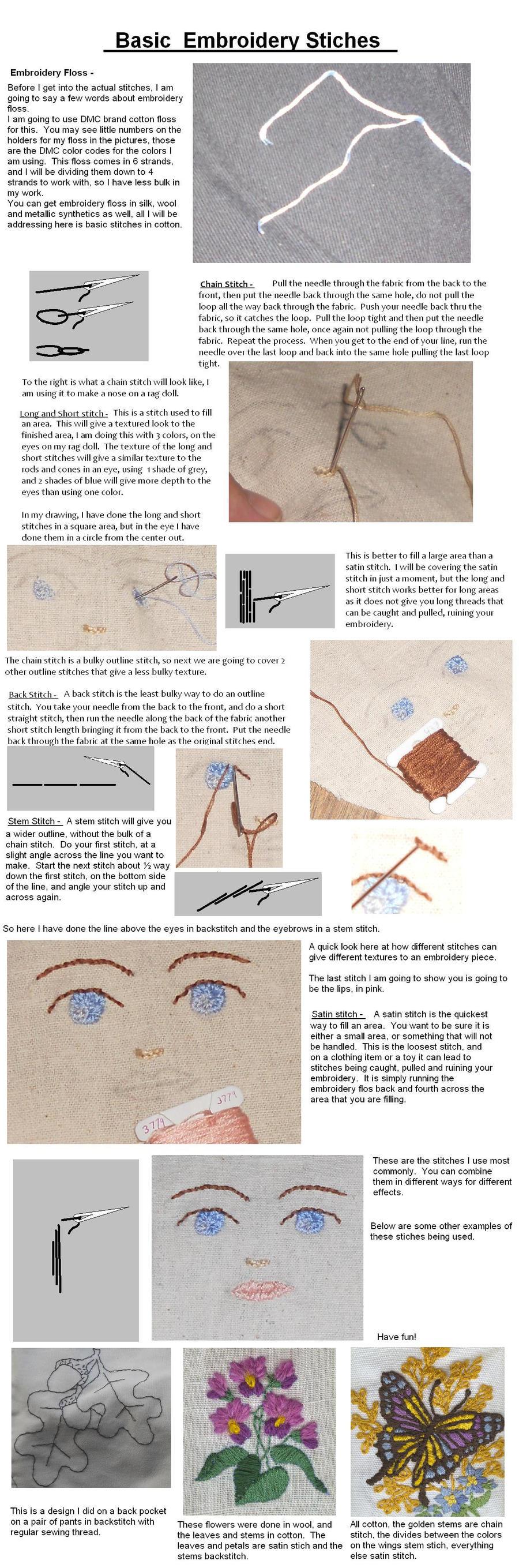 Embroidery stitches by Glori305