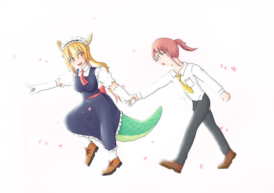 Tohru and Kobayashi by TierBlue