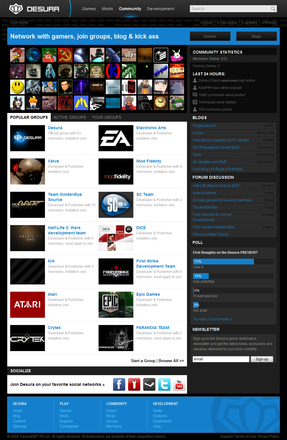 Desura Community Page by intense