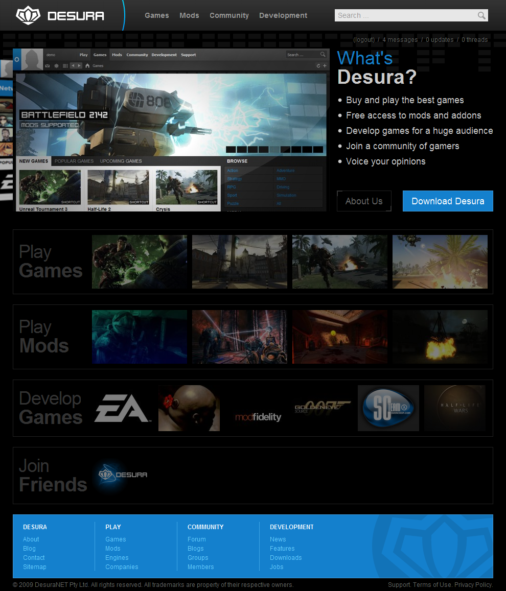 Desura Home Page by intense