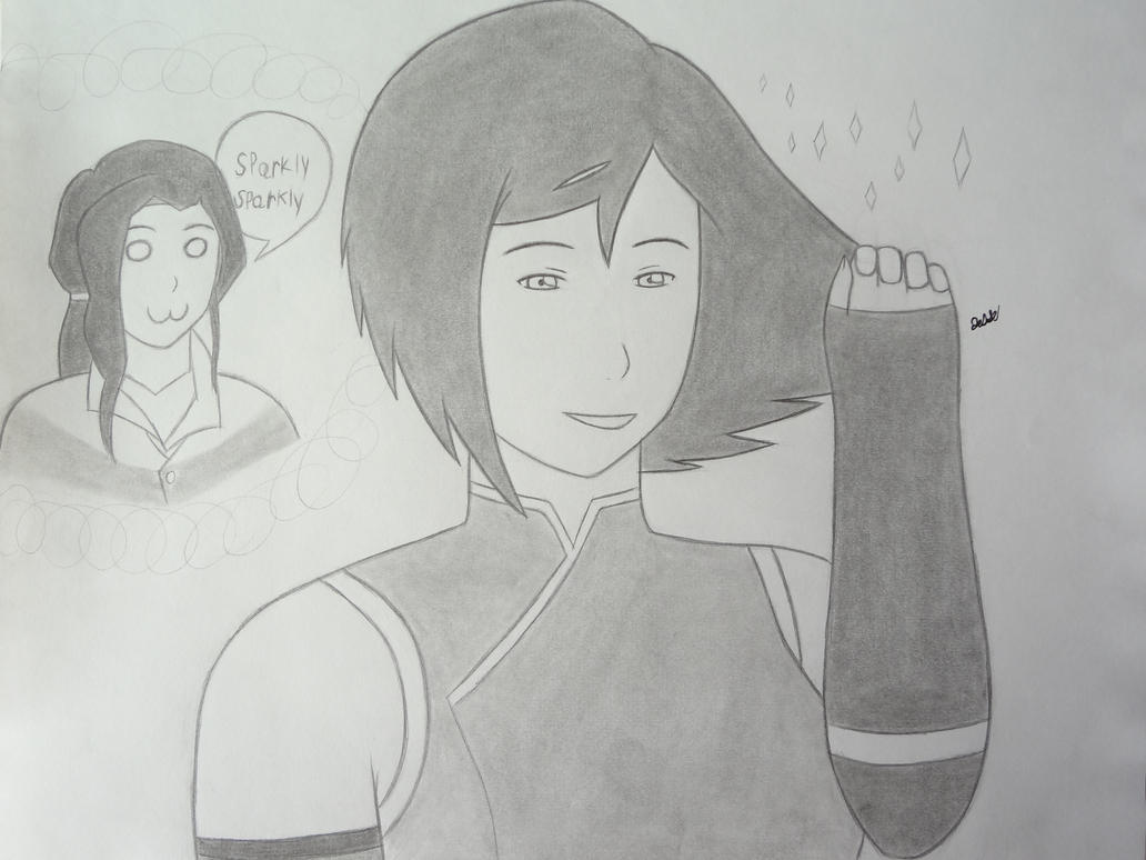 Korra showing off her hair to Asami by 112Tyranus